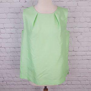 LIDA BADAY Lime Green Silk Sleeveless Blouse 10
